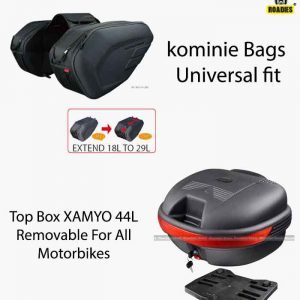 kominie Universal Saddle Bags & Removable TOP Box 44L