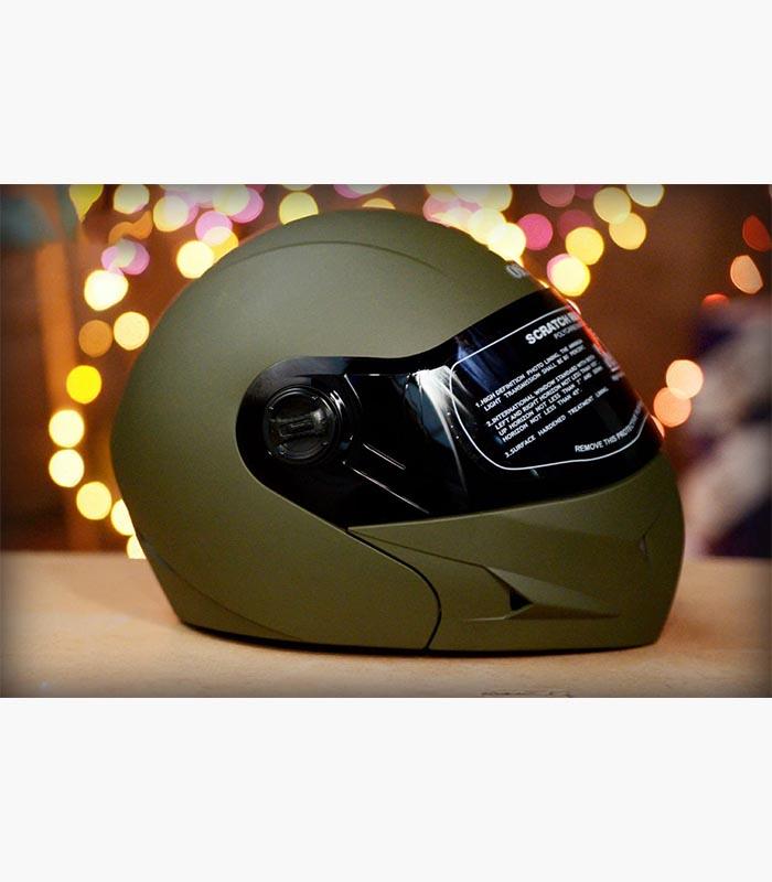 Steelbird Oscar Battle Green Full face Flip up helmet