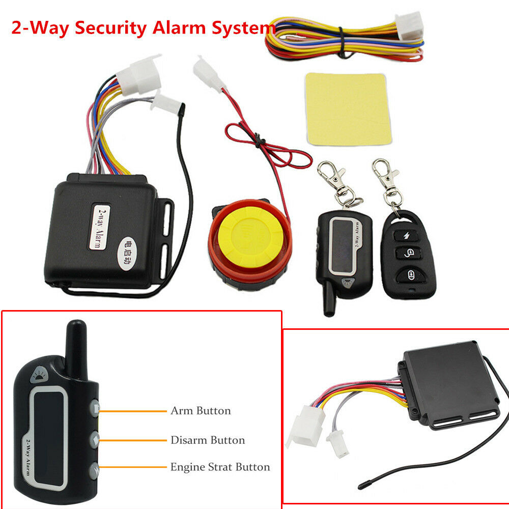 Motorcycle Lock Security Two Way Alarm Full Function Remote Control Engine Start