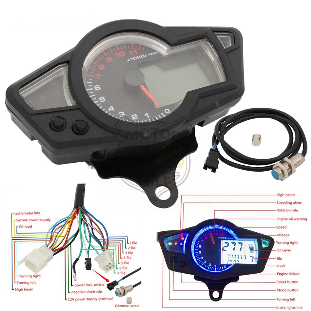 Universal Motorcycle Speedometer Lcd Digital Tachometer Odometer Backlight Gauge Meter And