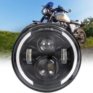 Motorcycle Headlights 4 Projector with DRL Halo Half Ring