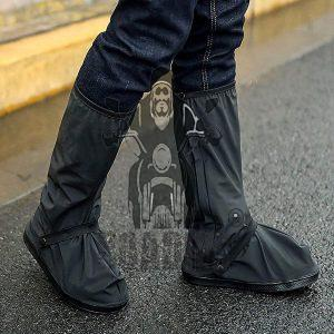 Waterproof Shoes Cover with Reflector Rain Snow Boots Black Reusable Covers Gear for Motorcycle Fishing