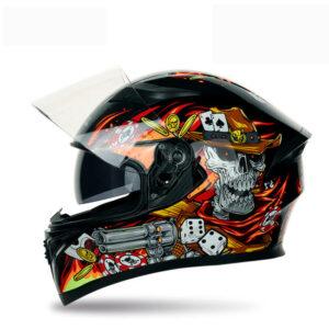 JIEKAI JK-316 SKELETON Full Face Dual Visor Helmet DOT CERTIFIED