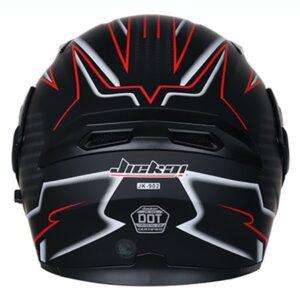 JIEKAI JK-902 Red & Matt Black Uplift Dual Visor Helmet DOT