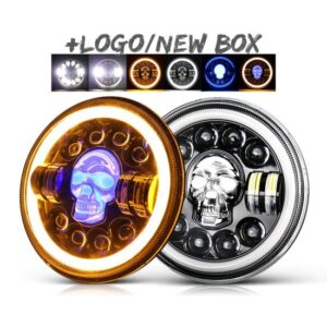 Projector LED Headlight RGB Skull Design With White Yellow Halo Ring High Low Beam DRL | H4 7′′ Inch LED Headlights| Motorcyle | Jeep | Harley