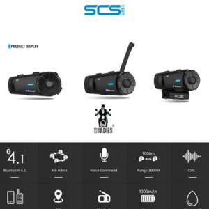 SCS - S3 Motorcycle Helmet Bluetooth Intercom Device with Conference Call FM Music New